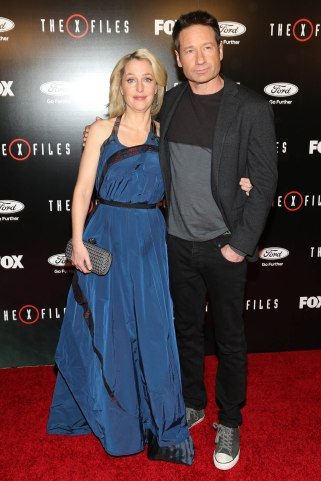 Gillian Anderson and David Duchovny arrive at the season premiere of 'The X-Files' at the California Science Center on Tuesday, Jan. 12, 2016, in Los Angeles, Calif. (Photo by Omar Vega/Invision/AP)